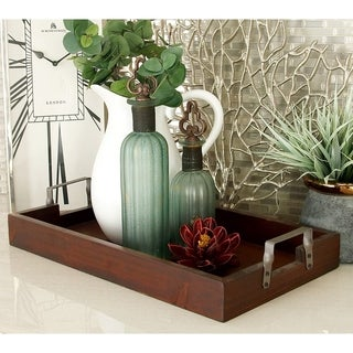 "Dark Brown Wood Metal Tray Set Of 2 22"", 20""W"