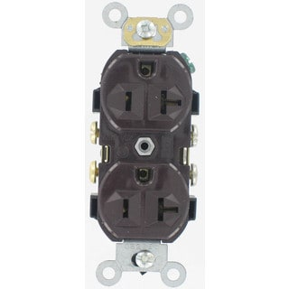 Leviton S00-0CR20-0 Brown Commercial Grade Straight Blade Duplex Receptacle