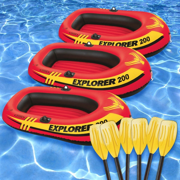 Intex Explorer 200 Inflatable Boats with Oars (Pack of 3)