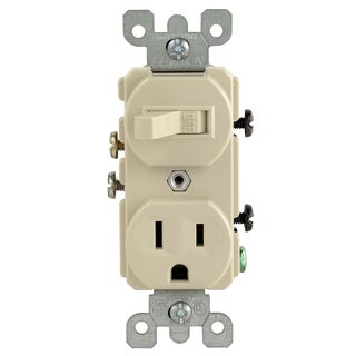 Leviton S00-05225-00S 120 Volt Brown Light Switch With Outlet