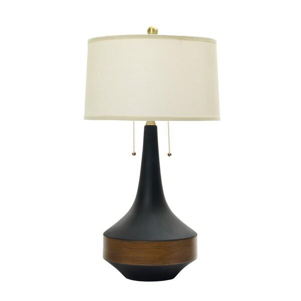 31-inch Ceramic Table Lamp in Matte Black w/Dark Oak wood Accent