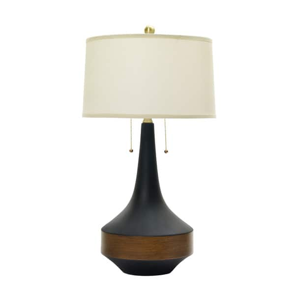 Shop 31 Inch Ceramic Table Lamp In Matte Black W Dark Oak Wood Accent Overstock 11953017