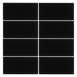 Vicci Design Black Glass 3x6 6-square foot Subway Tiles (Case of 48)