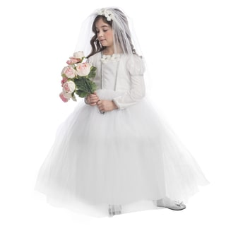 Girls' White Polyester Bridal Princess Costume