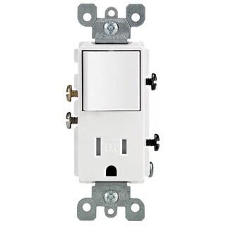 Leviton R62-T5625-0WS 15 Amp White Single Pole Switch & Receptacle Combination