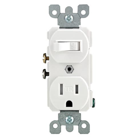 Leviton R62-T5225-0WS 15 Amp White Toggle Switch & Receptacle Combination