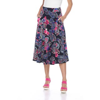 White Mark Women's Multicolored Polyester and Spandex Paisley-printed Flare Skirt