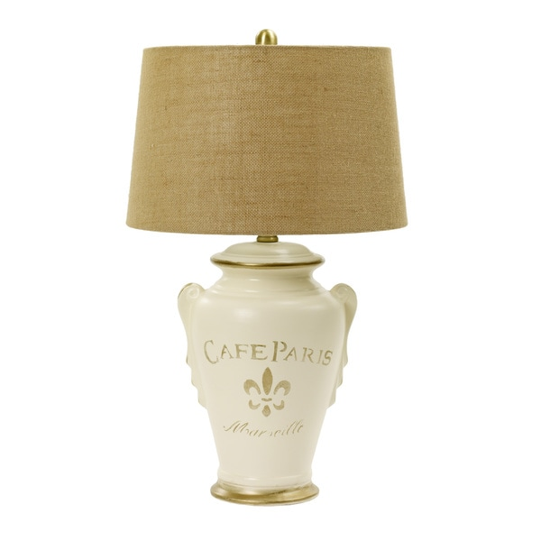 29.5-inch Eggshell & Gold Ceramic Table Lamp inspired By Paris