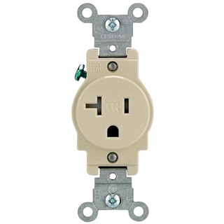 Leviton R51-T5020-0IS 20 Amp Ivory Single Power Temper Resistant Outlet