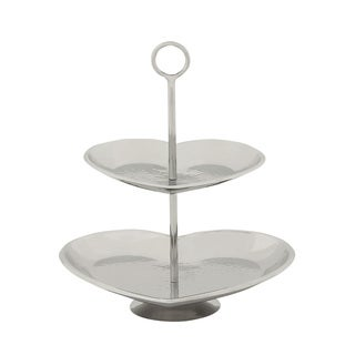 Silvertone Steel 2-tier Serving Tray Stand