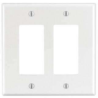 Leviton R52-PJ262-00W 2-Gang Midway Size White Decora GFCI Device Wall Plate