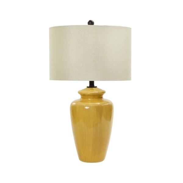28-inch Rustic Amber Crackle Ceramic Table Lamp