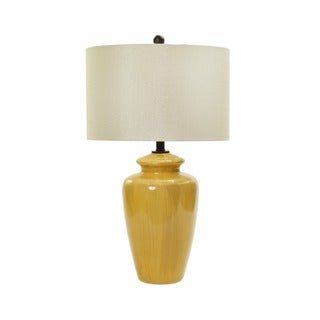 28-inch Rustic Amber Crackle Ceramic Table Lamp