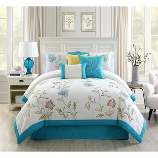 Teagan Blue Embroidery 7-piece Comforter Set