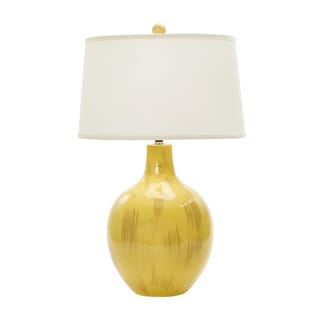 28-inch Rustic Goldfinch Crackle Ceramic Table Lamp