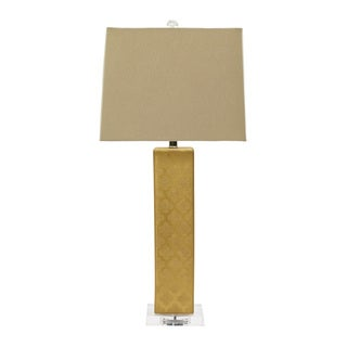 32-inch Ceramic Table Lamp W/Moroccan Trellis Design in Textured Gold