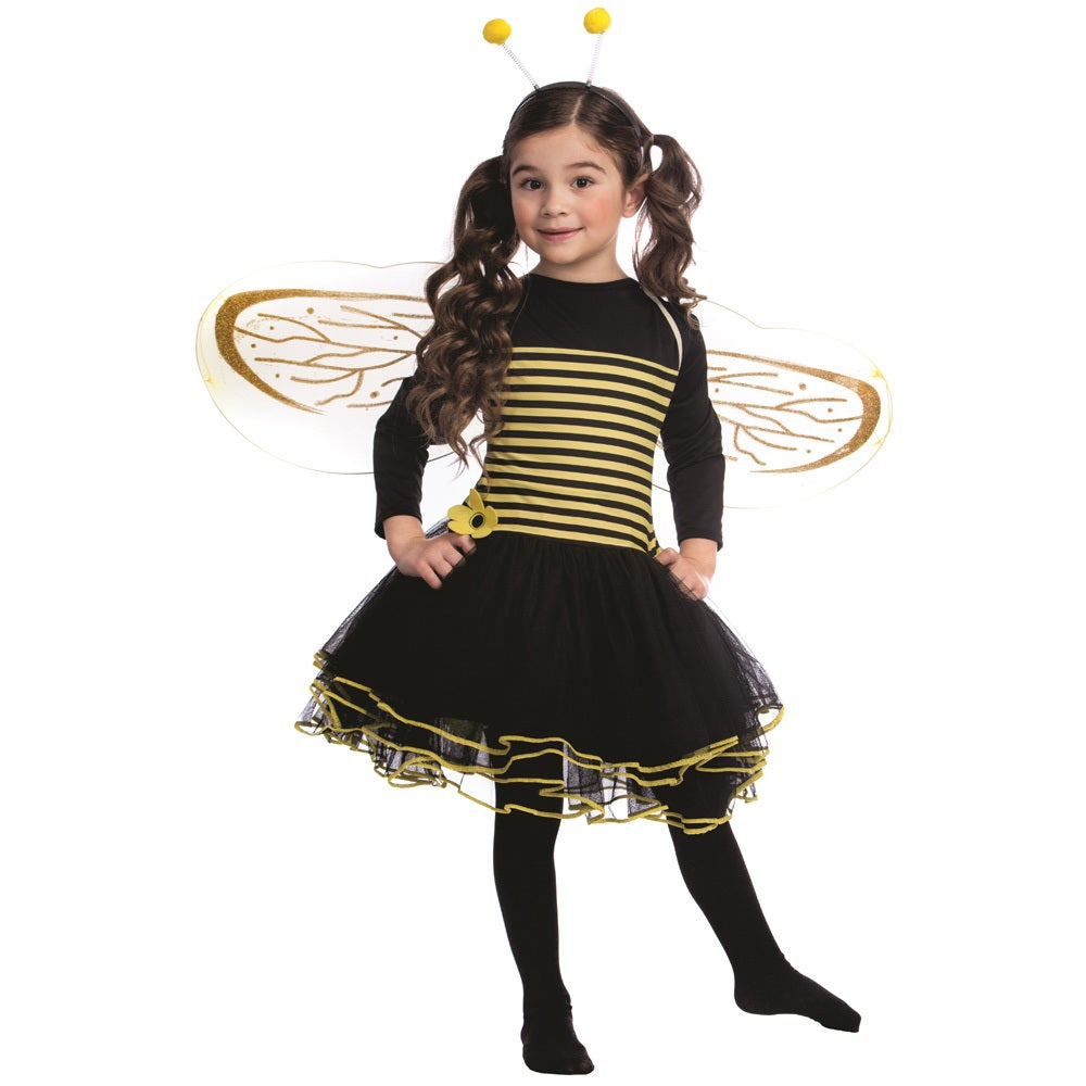 Dress Up America Girls' Bumblebee Black/Yellow Dress (Tod...