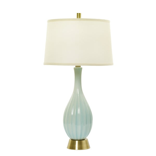 32-inch Spa Blue Crackle &, Silver Ceramic Table Lamp w/Ripple Design
