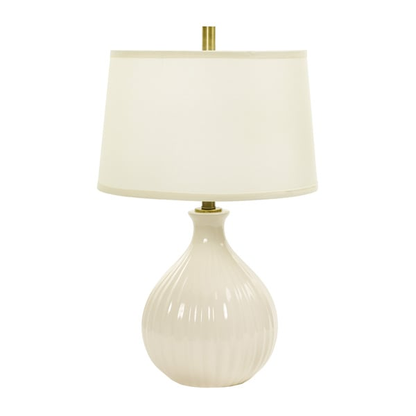 26-inch Eggshell Crackle Ceramic Table Lamp w/Ripple Design