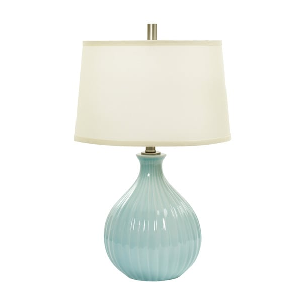 26-inch Spa Blue Crackle Ceramic Table Lamp w/Ripple Design