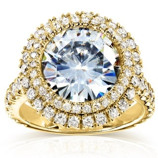 Annello 14k Yellow Gold 4 3/4ct Round Forever Brilliant Moissanite and 1 1/10ct TDW Diamond Double Halo Ring (G-H, I1-I2)