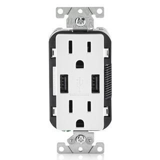 Leviton R02-T5632-0BW 15 Amp White USB & Receptacle Combination Outlet