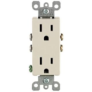 Leviton M26-05325-TMP Light Almond 15 Amp Duplex Outlets 10-count