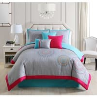 Gloriane Grey and Pink Embroidery 7-piece Comforter Set