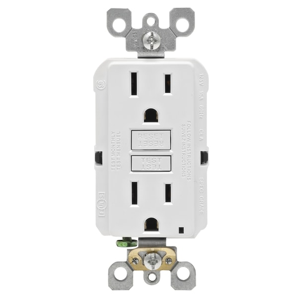 Leviton GFCI Receptacle 15 amps 1-15R 125 volts White. Opens flyout.
