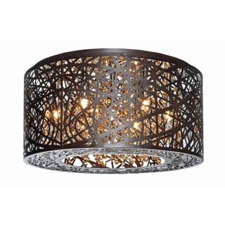 Inca Brown Metal, Steel 7 Light Flush Mount Light Fixture
