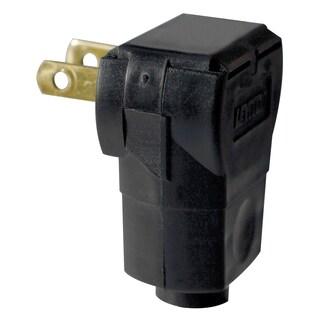 Leviton C25-101AN-00E Black Residential Grade Straight Blade Angle Plug