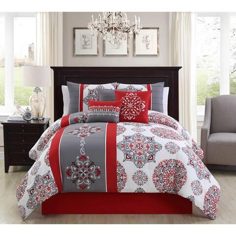 Precious Red Embroidery 7-piece Comforter Set