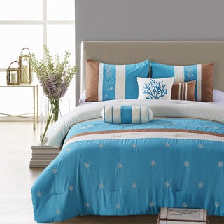 Seaward Blue Embroidery 7-piece Comforter Set