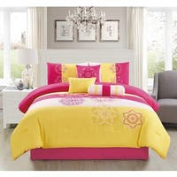 Carlotta Yellow Embroidery 7-piece Comforter Set