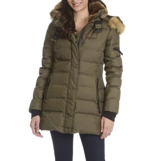 S13 Women's Green Down Quilted Coat With Faux-fur Trim Hood