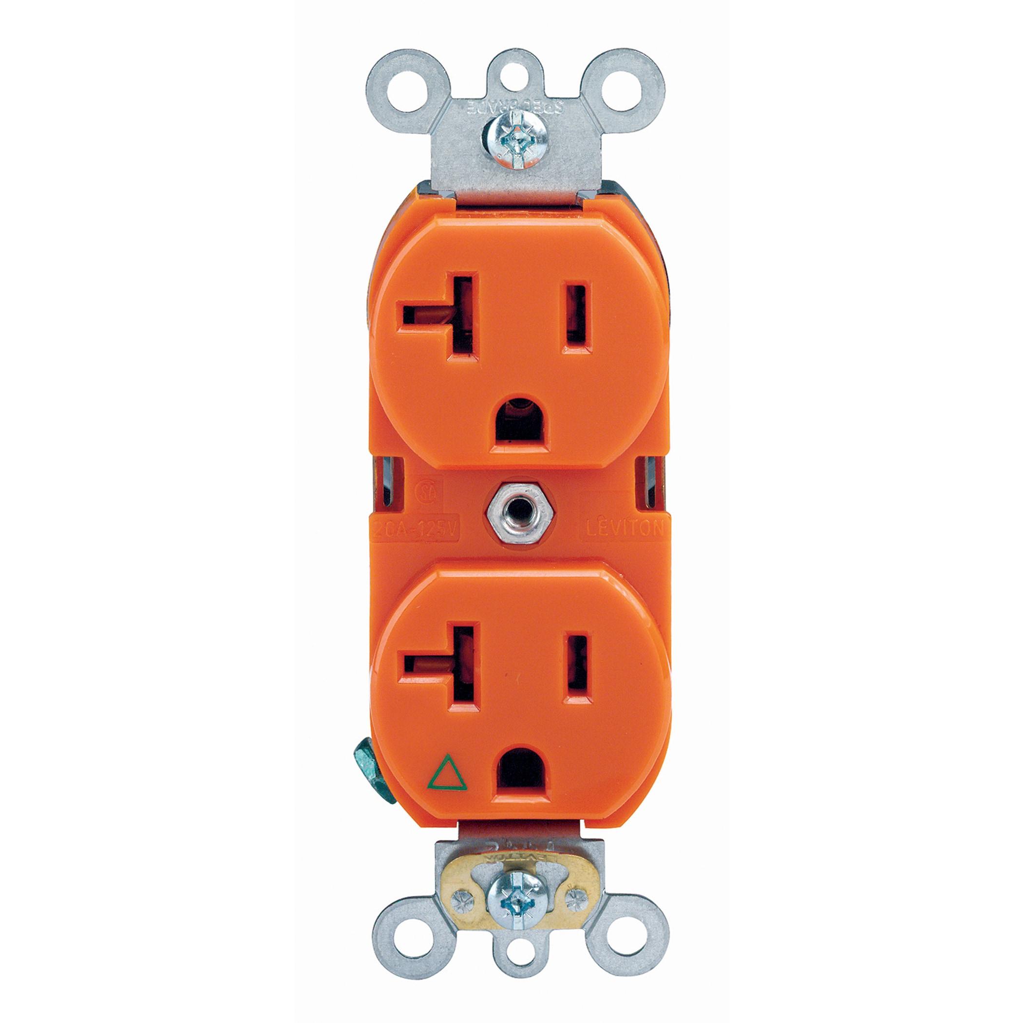 Leviton 285-05362-0IG 125 Volt Orange Duplex Receptacle (...