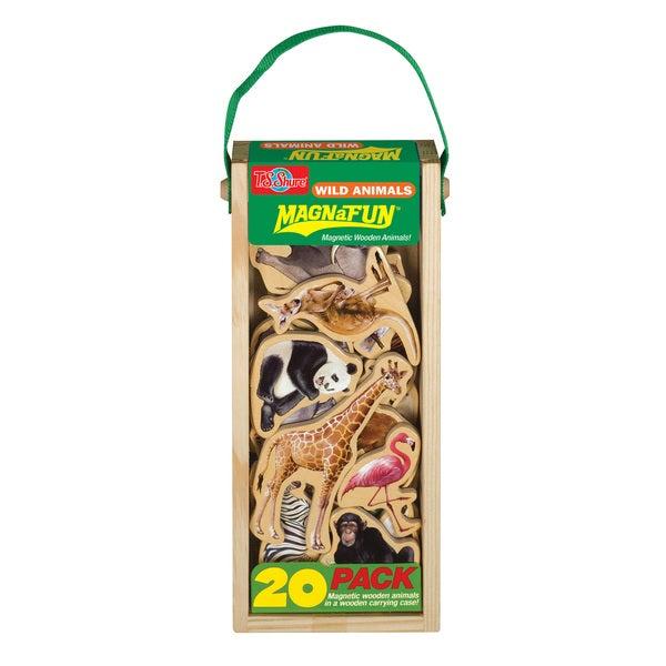 Wild Animals Wooden Magnets 20 Piece MagnaFun Set