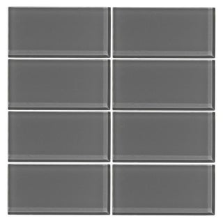 Vicci Design Grey Glass Subway Tiles (Pack of 48)