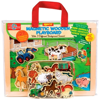Farm Animals, Horses and Vehicles Wood Magnetic Playset