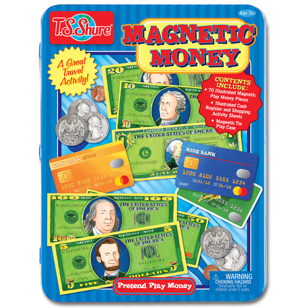 T.S. Shure Pretend Play Money Magnetic Tin Play Set