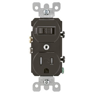 Leviton 200-T5225-000 15 Amp Brown Toggle Switch & Receptacle Combination