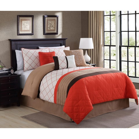 Orelia Orange Embrodiery 7-piece Comforter Set