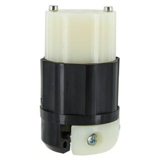 Leviton 165-2423-0 20 Amp Black & White 3-Pole Grounding Locking Connector