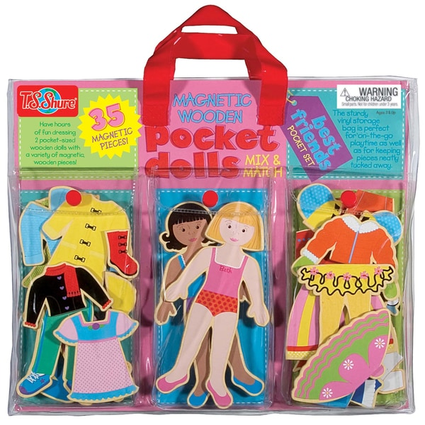 Pocket Dolls Best Friends Wood Magnetic Dress-Up Dolls