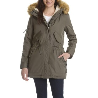 S13 Women's Green Faux Fur Hooded Anorak