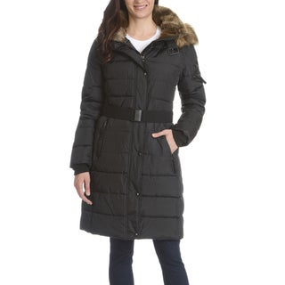 S13 Women's Black Nylon/Polyester Quilted Faux Fur Trim Hood Belted Long Coat
