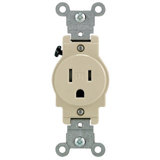 Leviton 132-T5015-00I 15 Amp Ivory Narrow Body Single Receptacle