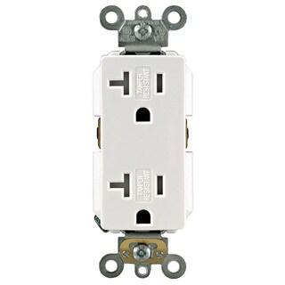 Leviton 131-TDR20-00W White 20 Amp Decora Plus Duplex Receptacle