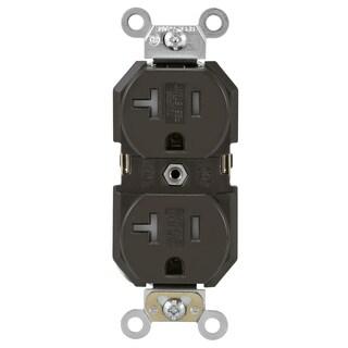 Leviton 130-TBR20-000 20 Amp Brown Commercial Grade Duplex Receptacle