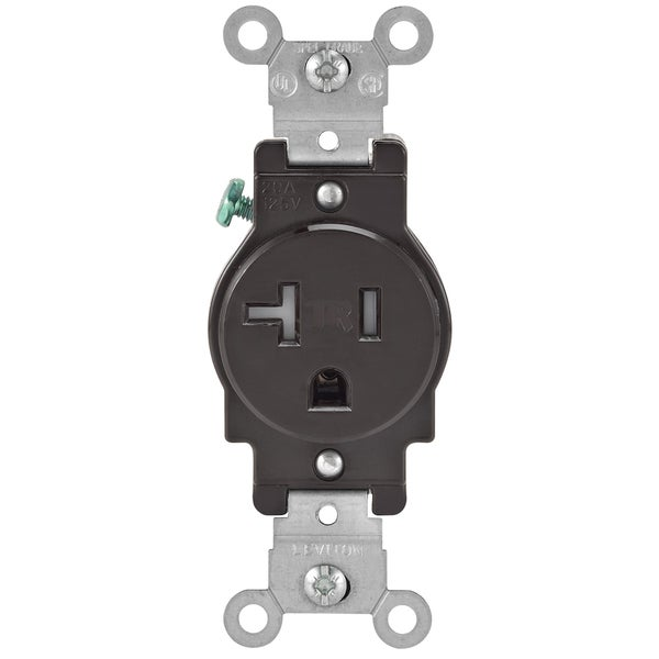Leviton 130-T5020-00S 20 Amp Brown Narrow Body Single Receptacle ...
